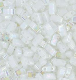 10 GM 5mm Tila 1/2 Cut : Opaque White Pearl (APX 250 PCS)