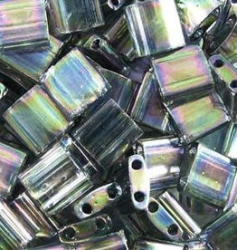 10 GM 5mm Tila Bead : Dark Transparent Grey Rainbow Luster (APX 110 PCS)