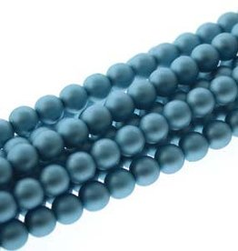 120 PC 4mm Round Glass Pearl : Matte Cerulean