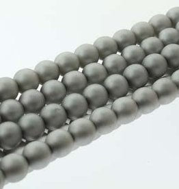 75 PC 6mm Round Glass Pearl : Matte Silver
