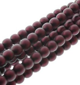 75 PC 8mm Round Glass Pearl : Matte Burgandy