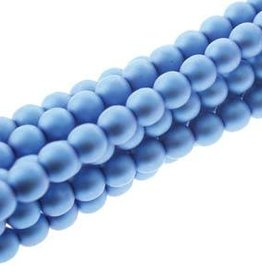 75 PC 8mm Round Glass Pearl : Matte Persian Blue