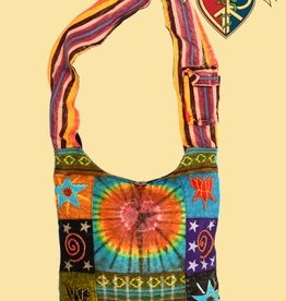 Beautifully Bohemian Tye Dye and Patchwork Cotton Peddler Bag