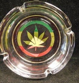Rasta Leaf - Glass Ashtray
