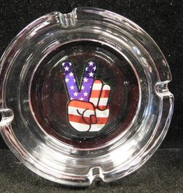 Peace Sign Fingers - Glass Ashtray