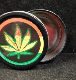 Round Stash Tin - Rasta Leaf