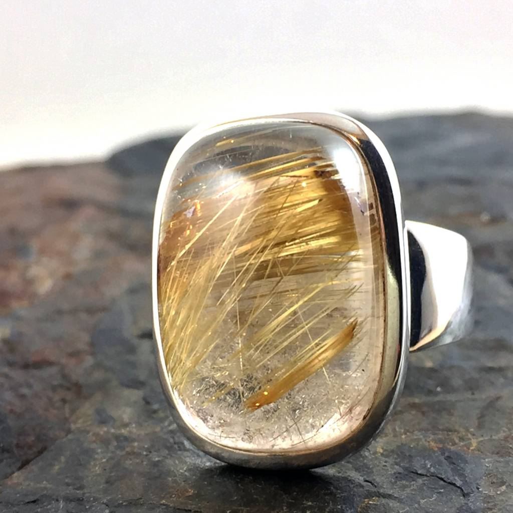 TWS Rutilated Quartz Rapunzel Ring Size 8