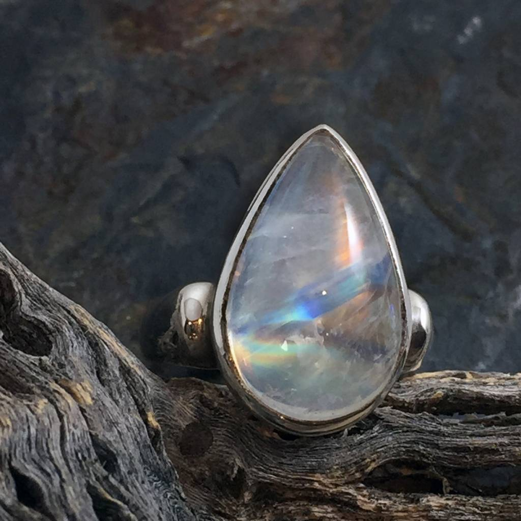 TWS Rainbow Moonstone Cab Pear Ring, Size 6.5
