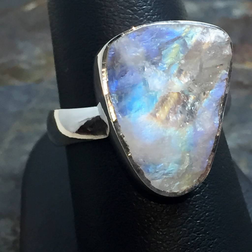 TWS Rainbow Moonstone Rough Freeform Ring size  8