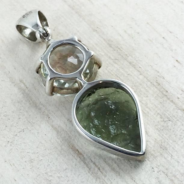 Moldavite + Quartz Space-Kissed Pendant