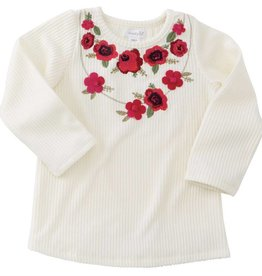 Mudpie Cream Floral Embroidered Tee