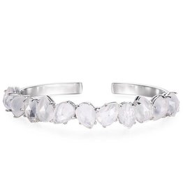 Natalie Wood Designs Teardrop Clear Quartz Cuff Bracelet - Silver