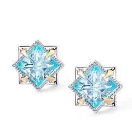 Natalie Wood Designs Runaway Romantic Stud Earrings Silver - Blue Topaz