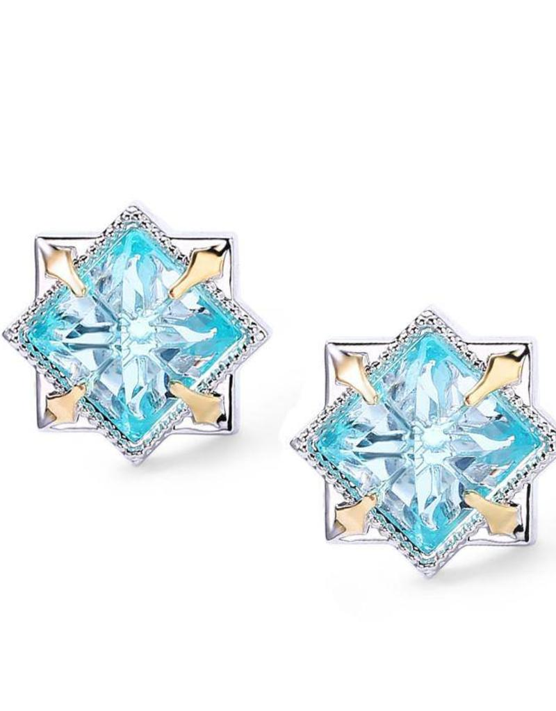 blue white gemstone stud earrings gold oval image jewellery topaz
