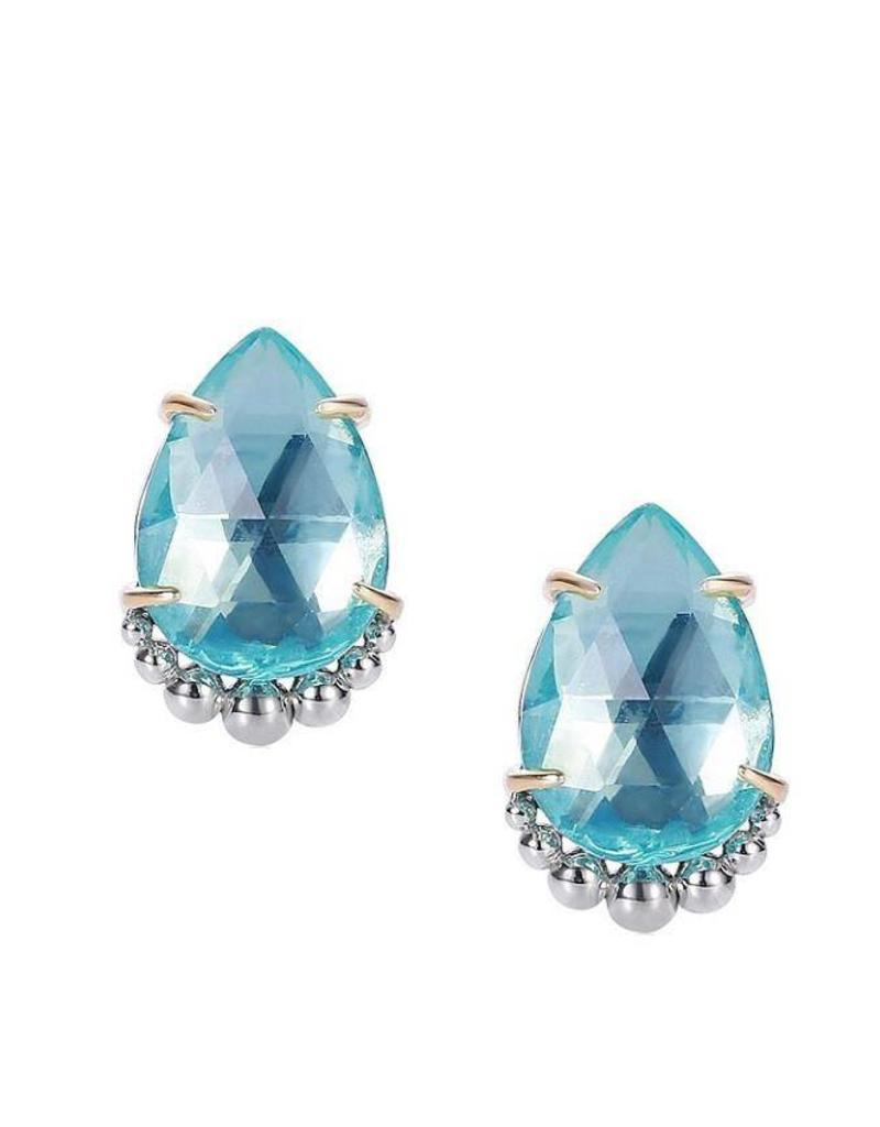 claw stud blue topaz white four gold earrings set square image