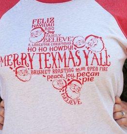 Turquoise Tulip Texas Christmas Baseball Tee