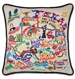 cat studio Hand Embroidered Texas Pillow