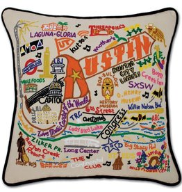 cat studio Hand Embroidered Austin Pillow