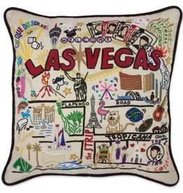 cat studio Hand Embroidered Las Vegas Pillow