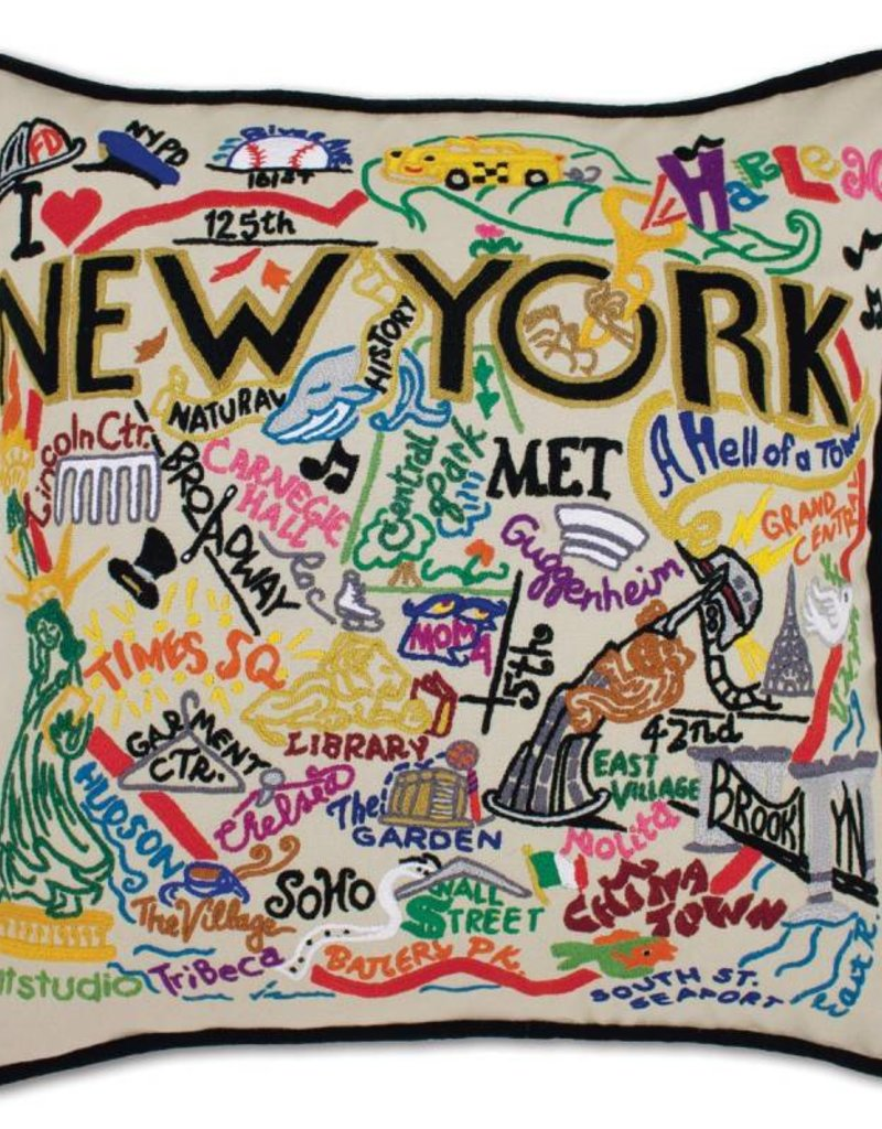 cat studio Hand Embroidered New York City Pillow