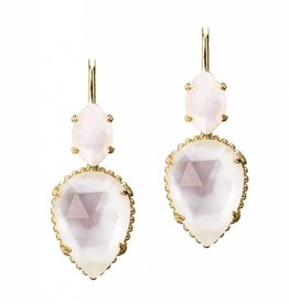Natalie Wood Designs Double Teardrop Earrings - Gold River Pearl