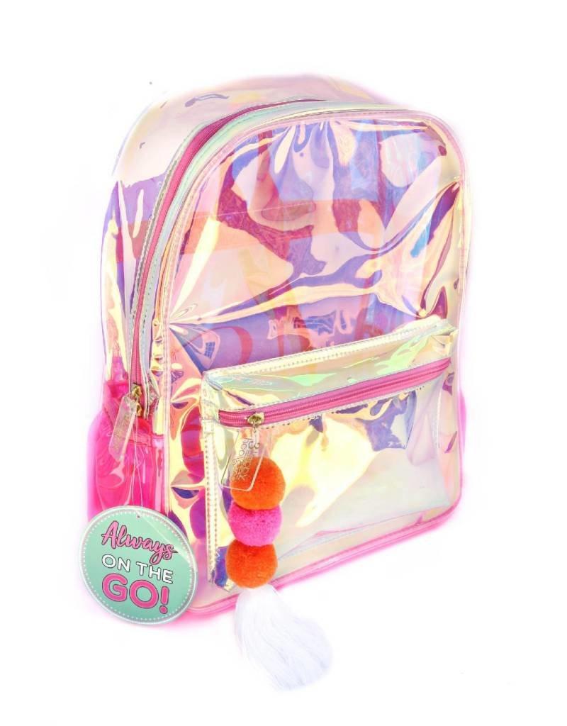 3 happy holigans Pink Iridescent Backpack