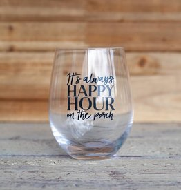 Mudpie Porch Happy Hour Wine Glass