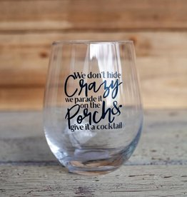 Mudpie Crazy Porch Wine Glass
