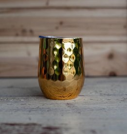 Occasionally Made 12oz Stemless Wine - Hammered Gold