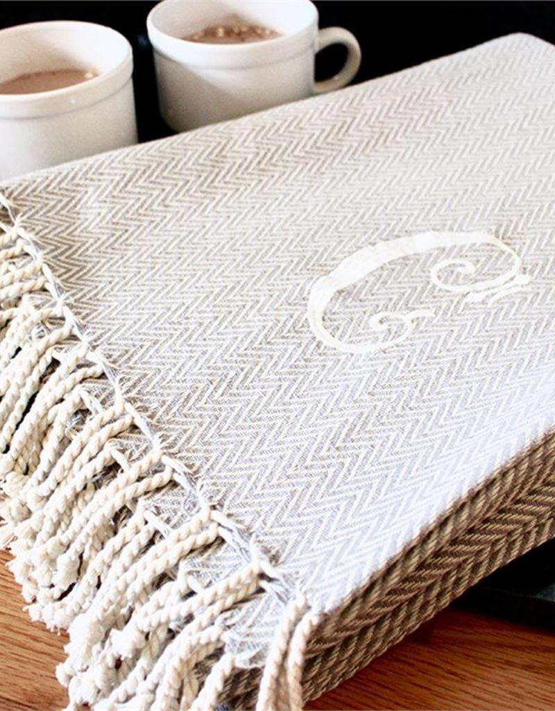 Mudpie Initial Throw Blanket