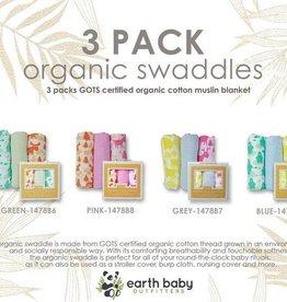 Organic Cotton Muslin Swaddle Blankets 3pc Set
