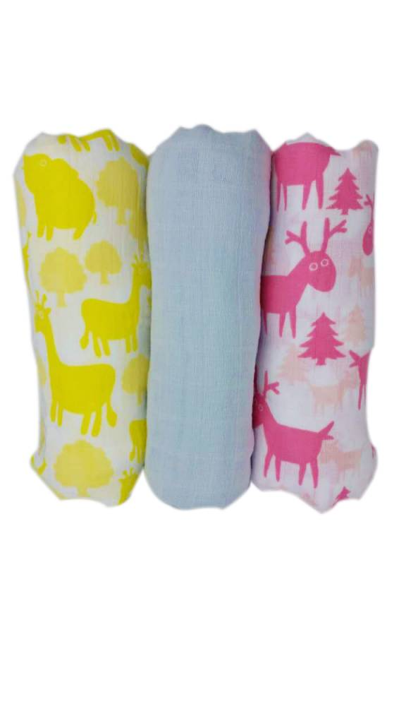 Organic Cotton Muslin Swaddle Blankets 3pc Set