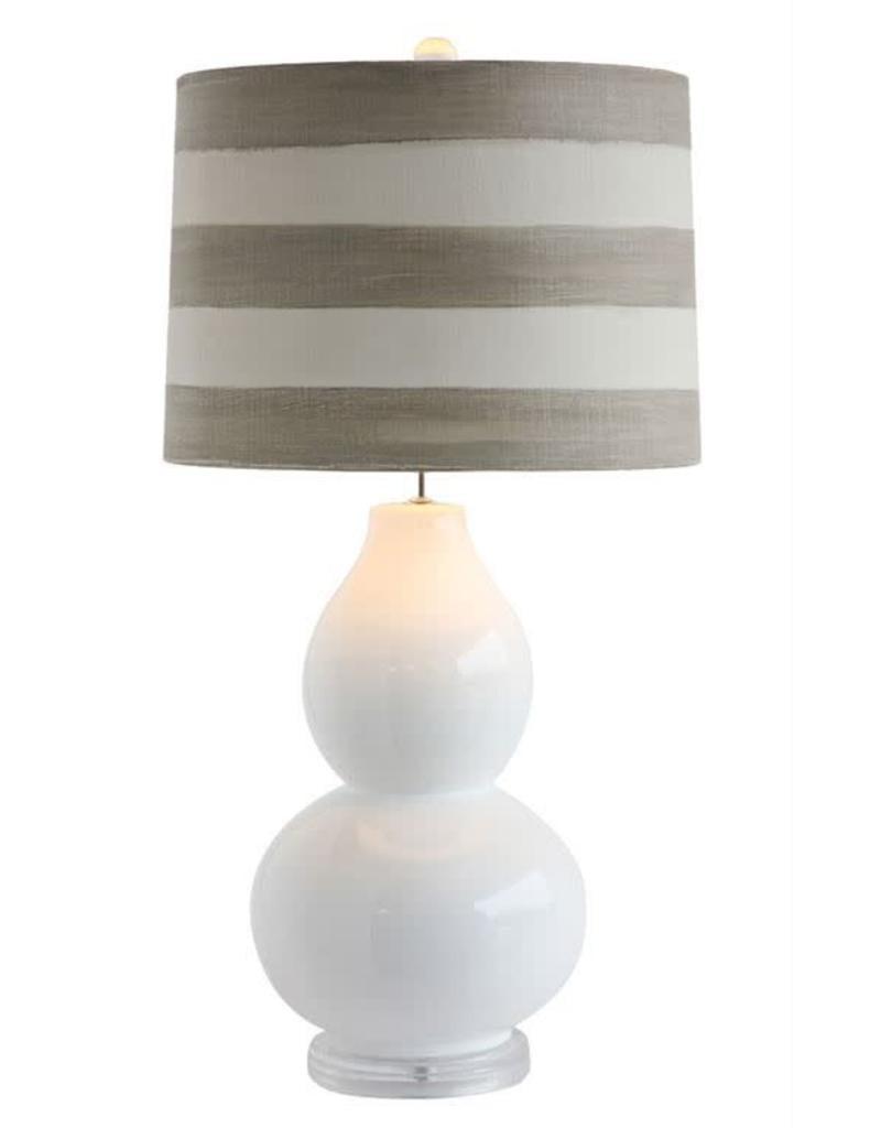 Ceramic Table Lamp w/ Striped Shade