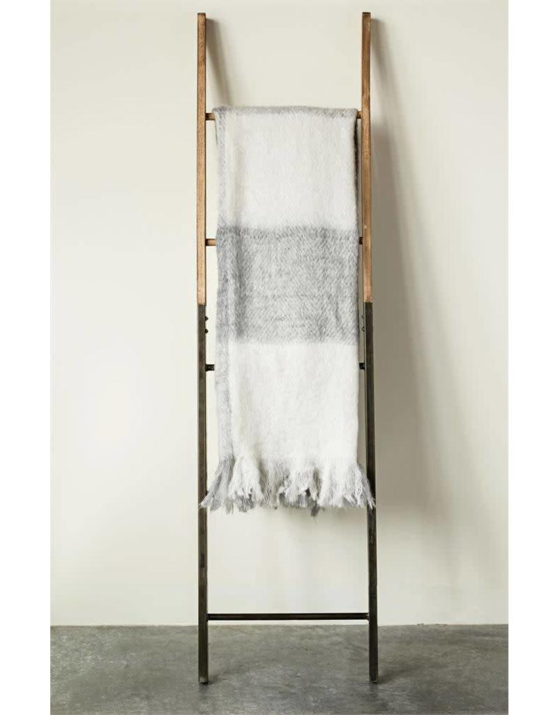 White & Grey Mohair & Acrylic Throw