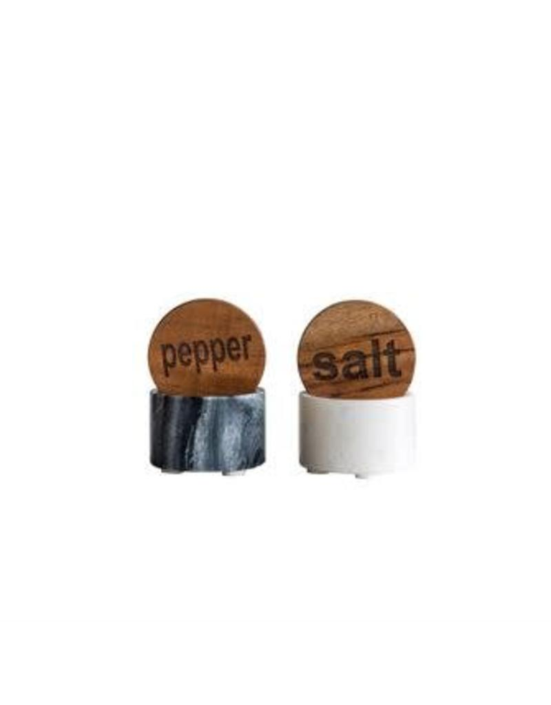Marble Salt & Pepper Set w/ Wood Lid