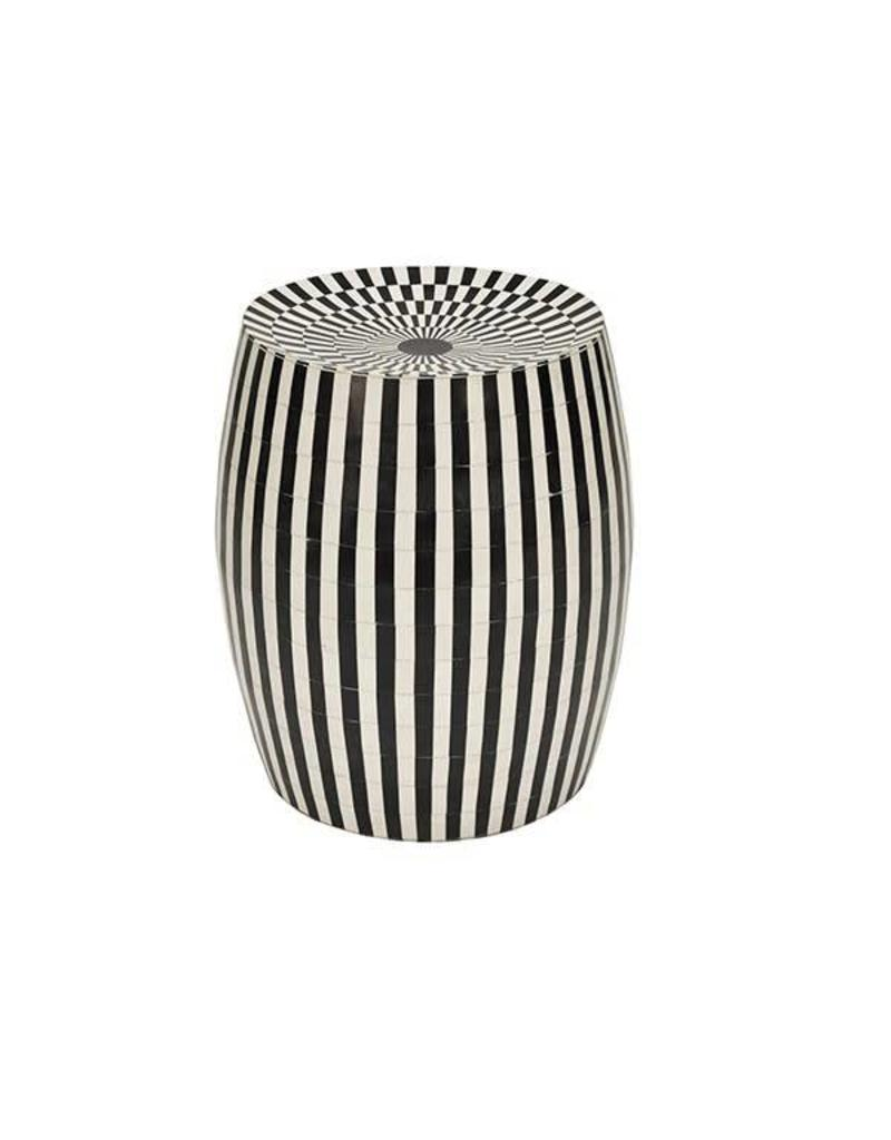 Cylinder Stool in Black & Off White Bone