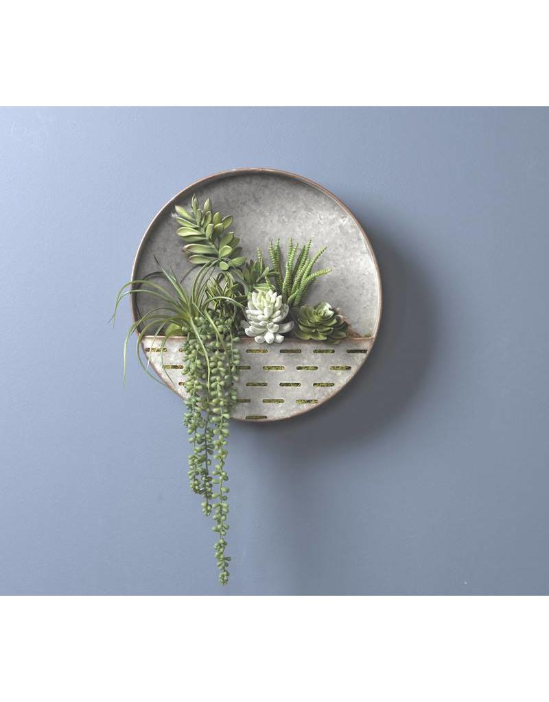 Round Metal Wall Sconce w/ Succulents