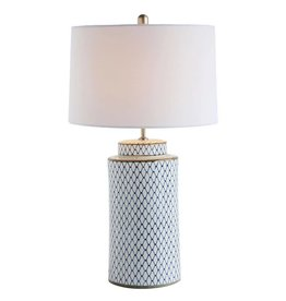 Indigo Ceramic Lamp w/ Linen Shade