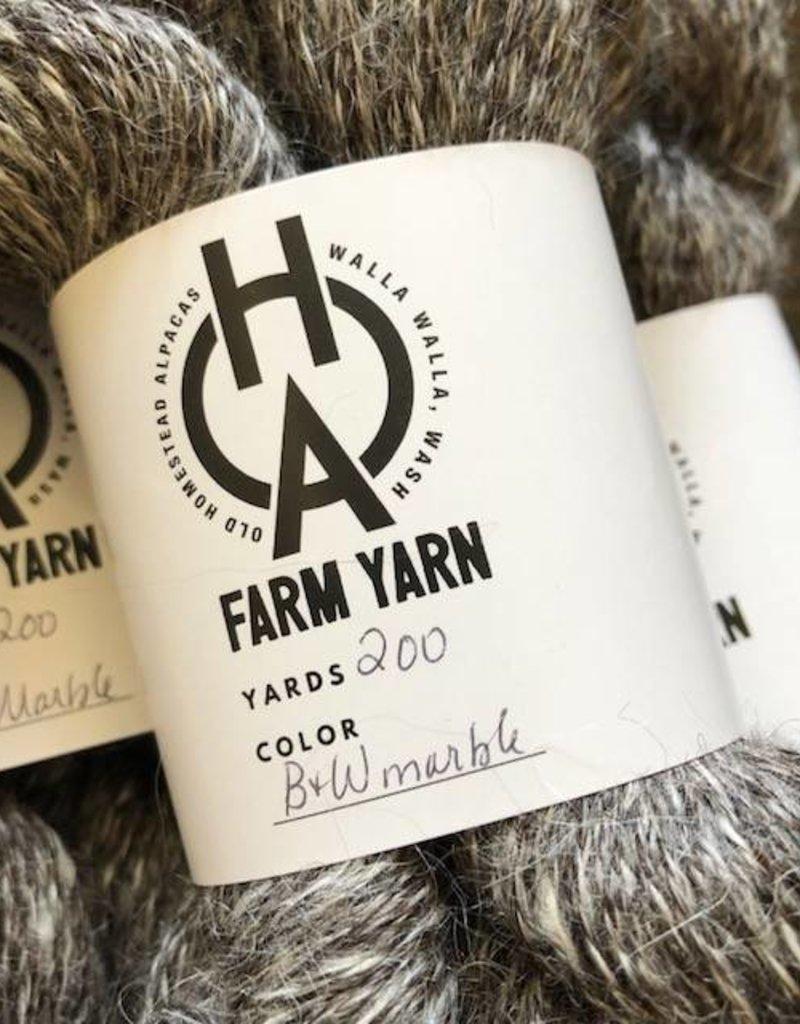 Old Homestead Alpacas 2-ply 100% Suri Black and White Marble