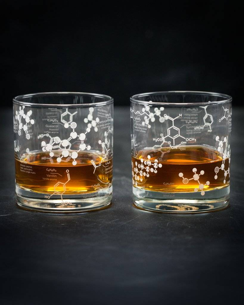 The Science of Whiskey Lowball Glass Set