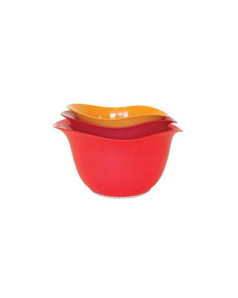 ARCHITEC HOUSEWARES ECOSMART PURELAST SET OF 3 RECYCLED MIXING BOWLS RED ORANGE AND YELLOW  | EBS234R