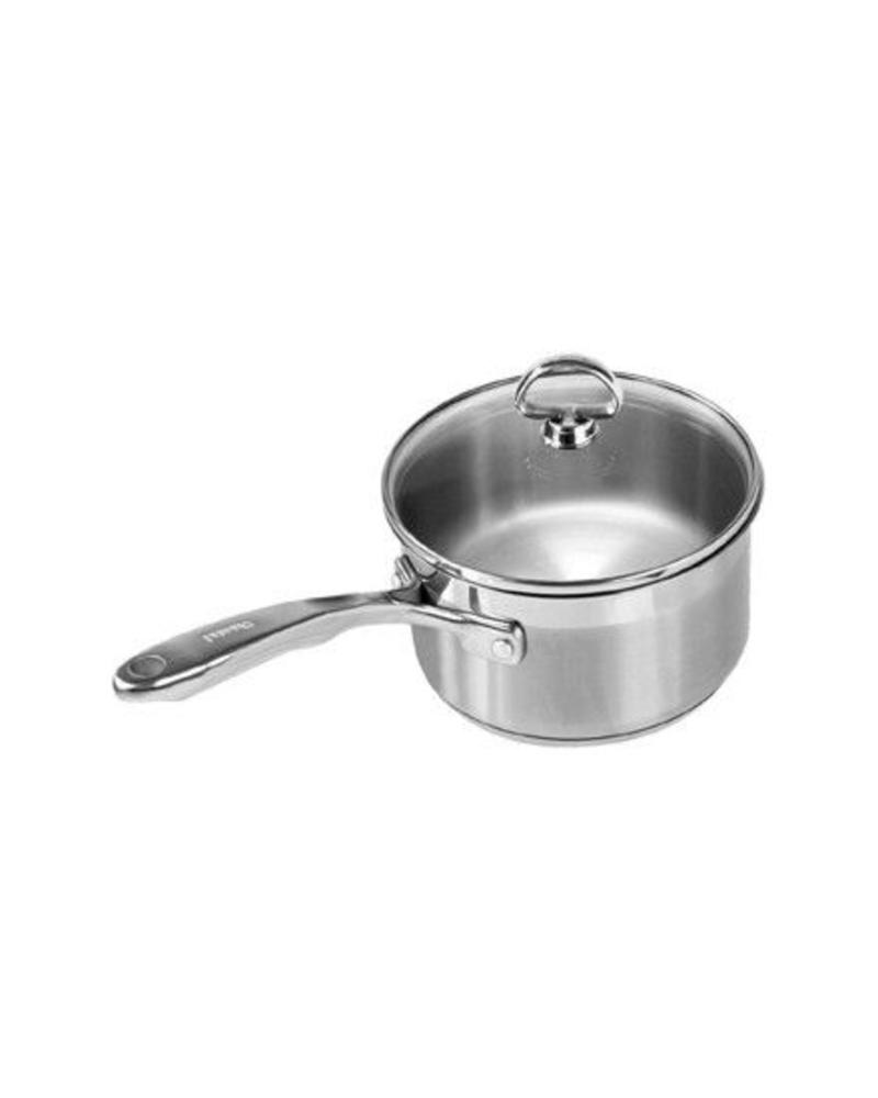CHANTAL INDUCTION 21 STEEL SAUCEPAN WITH TEMPERED GLASS LID STAINLESS STEEL CHANTAL