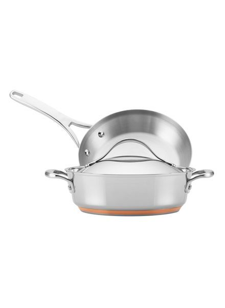 ANOLON NOUVELLE COPPER S/S 3 PC 9.5 IN FRENCH SKILLET & 3QT COVERED SAUTEUSE W/ LID THAT FITS BOTH