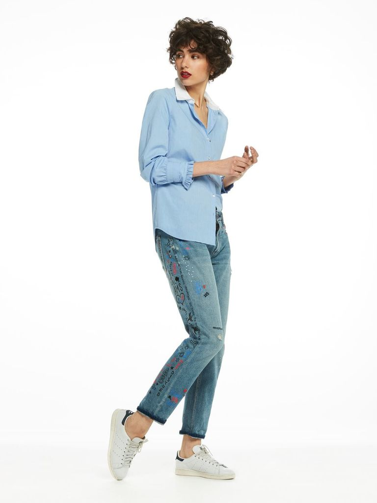 Maison Scotch Contrast collar shirt with pleated ruffle