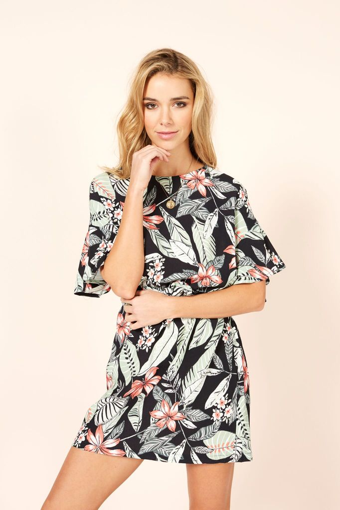 Mink Pink Aloha cove waist tie dress