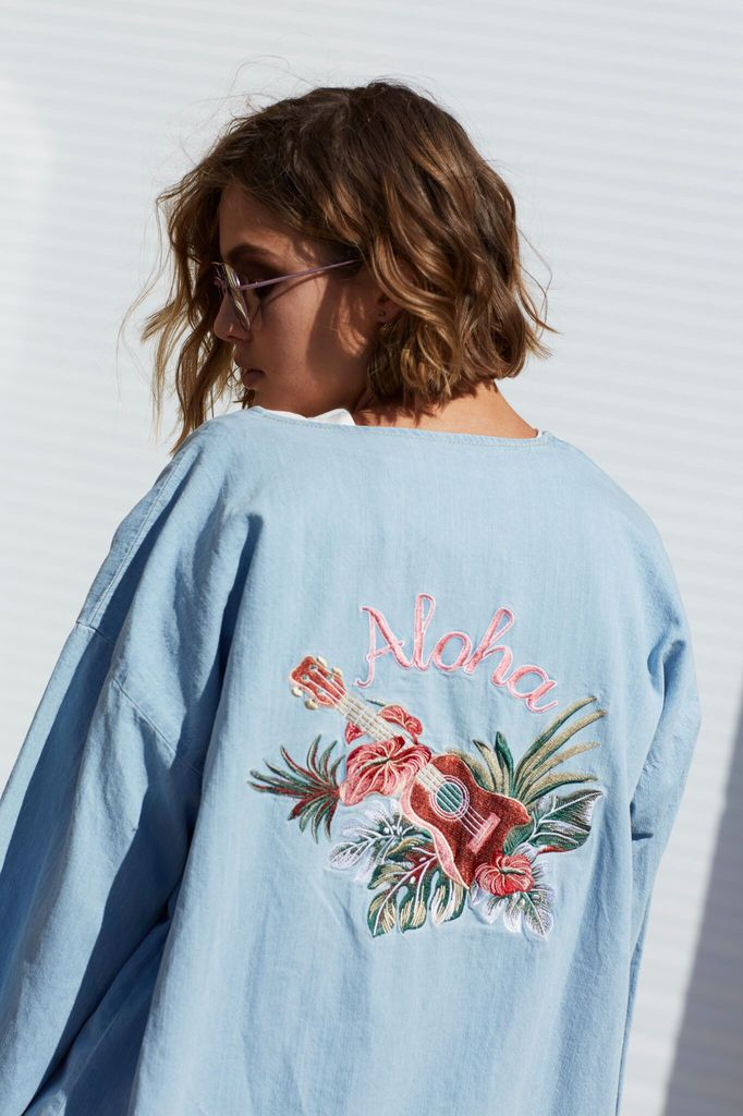 Mink Pink Aloha denim kimono