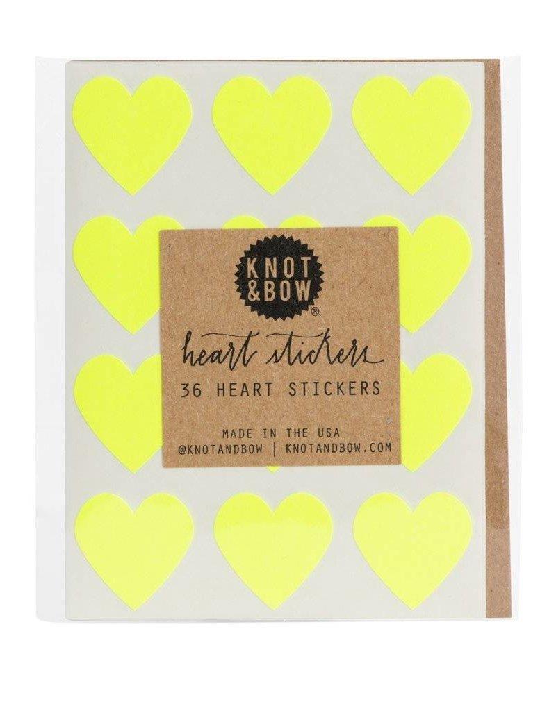Heart Stickers - Neon Yellow