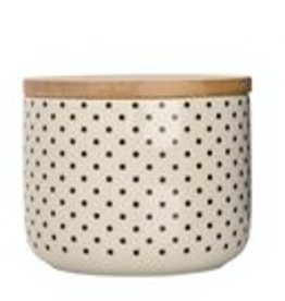 Ceramic Jar with Wooden Lid - Dotted