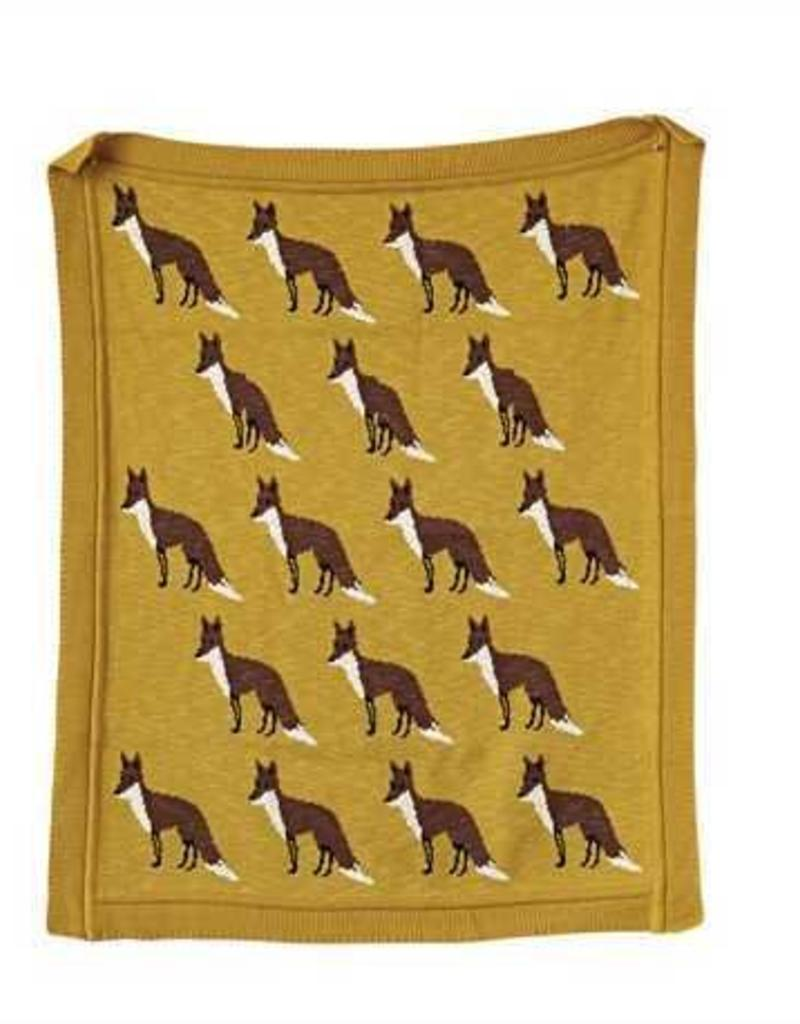 Cotton Knit Blanket - Olive with Foxes