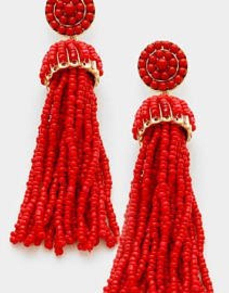 Red Beaded Tassel Drop Earring